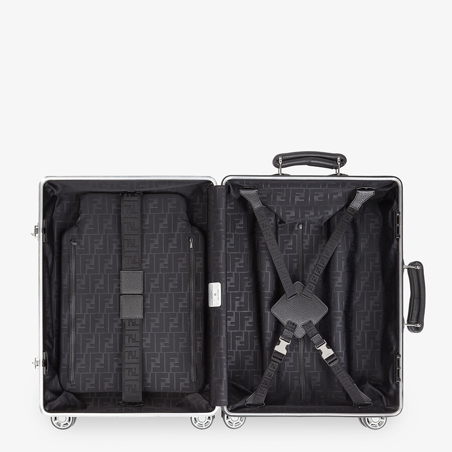FENDI CABIN SIZE TROLLEY - Aluminum trolley case with leather details - view 3 detail