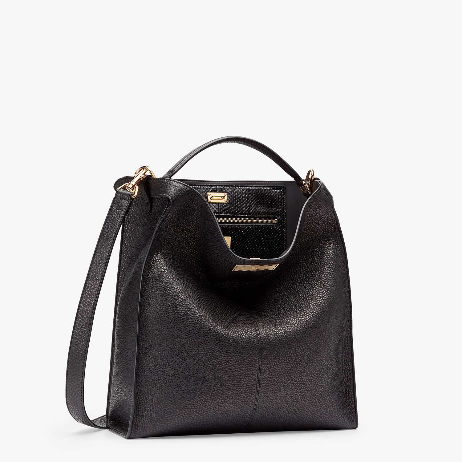 FENDI PEEKABOO X-LITE FIT - Black Romano leather bag - view 3 detail