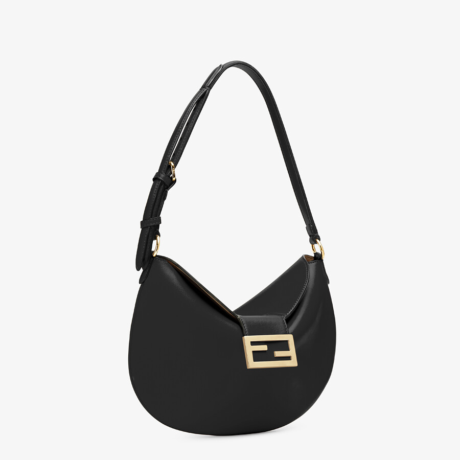 FENDI SMALL CROISSANT - Black leather bag - view 2 detail
