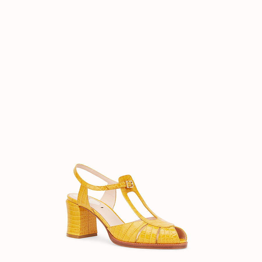 FENDI SANDALS - Yellow leather sandals - view 2 detail