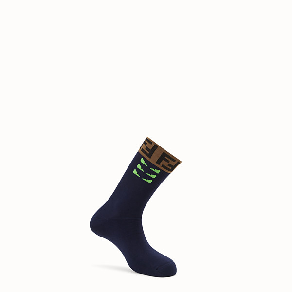 FENDI SOCKS - Blue stretch cotton socks - view 1 small thumbnail