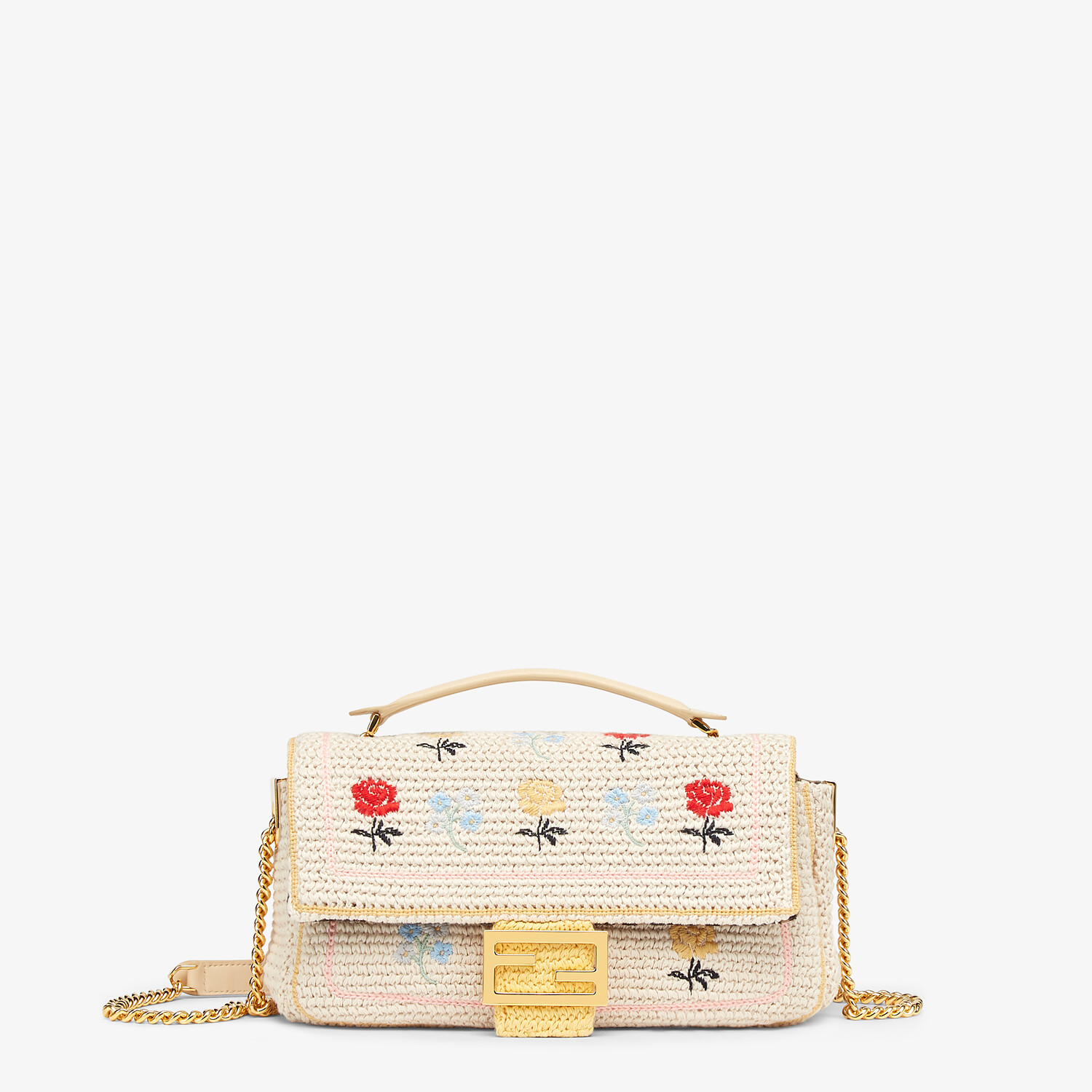FENDI BAGUETTE - White embroidered cotton bag - view 1 detail
