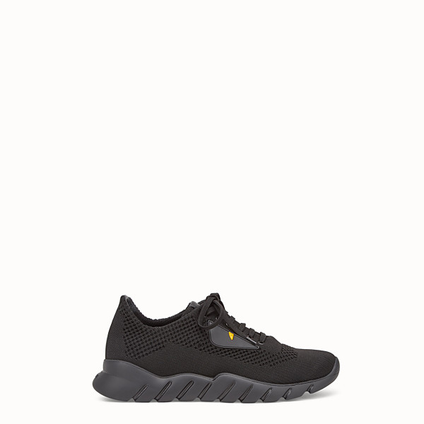 FENDI SNEAKERS - Fabric and black leather running shoes - view 1 small thumbnail