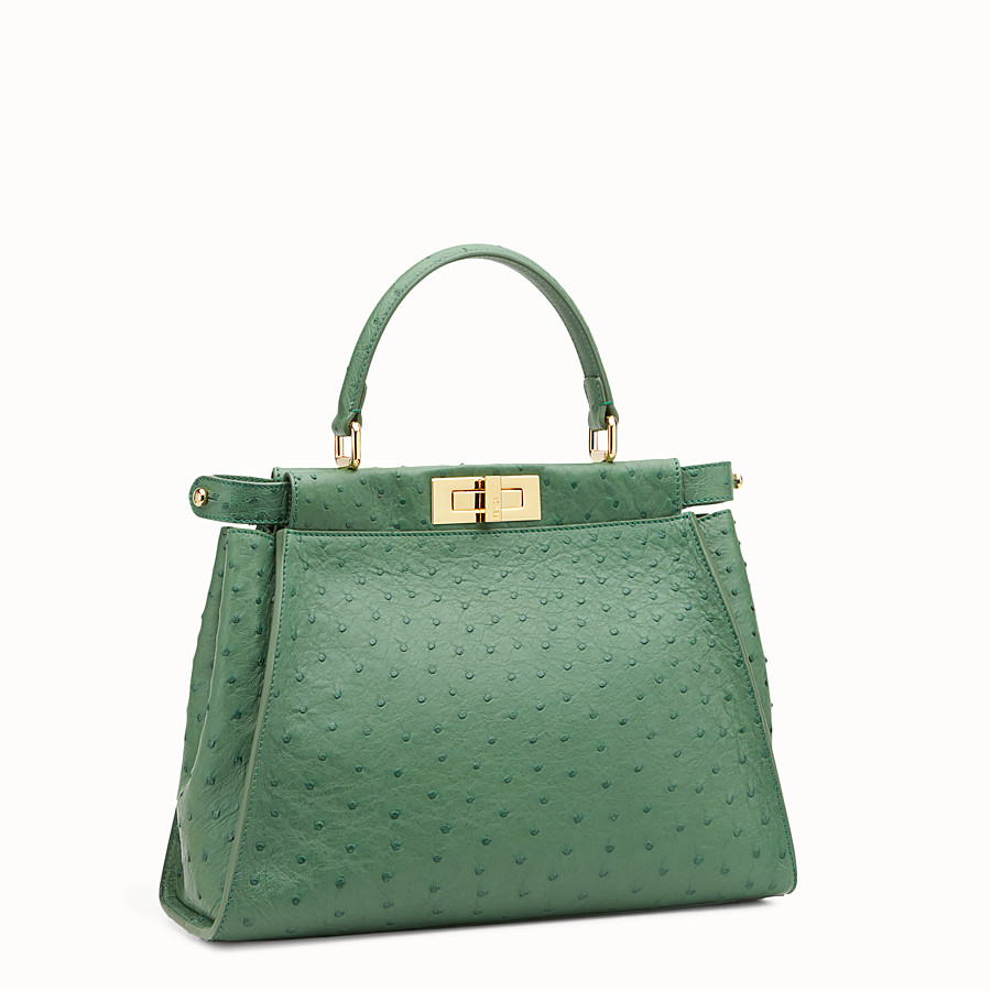 FENDI PEEKABOO REGULAR - Emerald green ostrich leather handbag. - view 2 detail