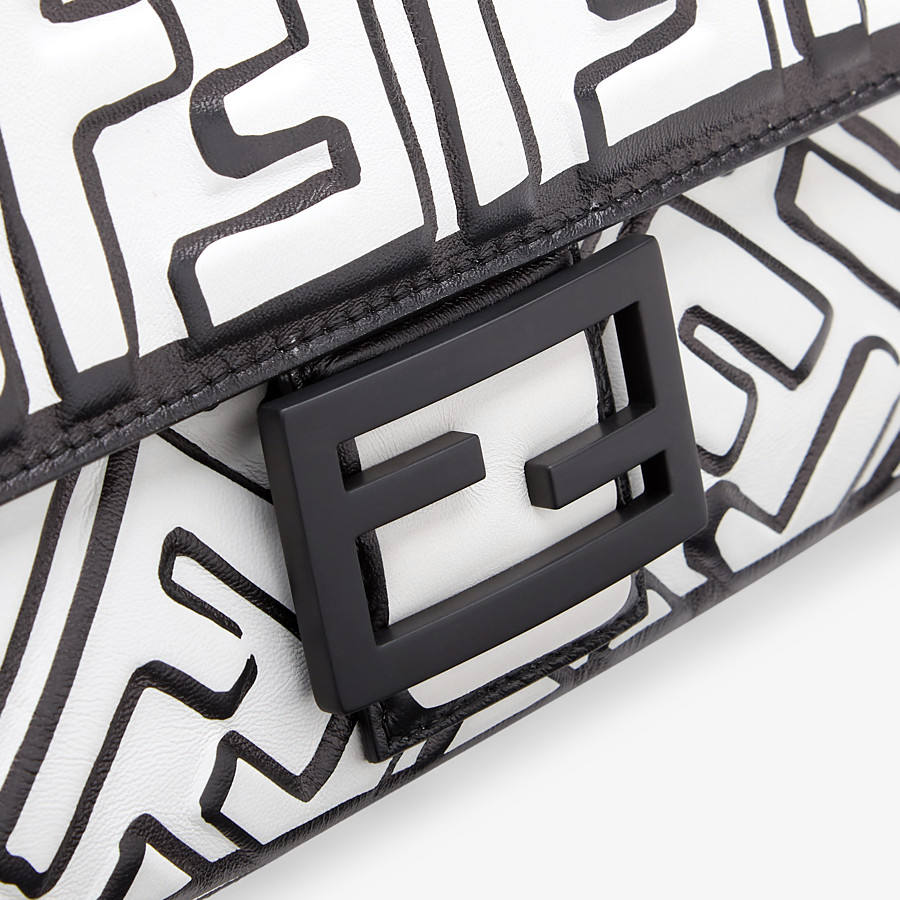 FENDI BAGUETTE - White nappa leather FF print bag - view 6 detail