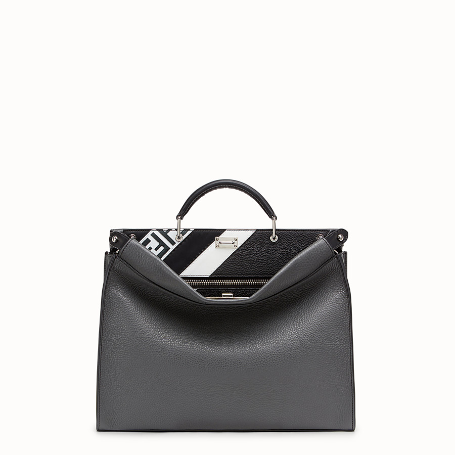FENDI PEEKABOO ICONIC FIT - Grey leather bag - view 1 detail