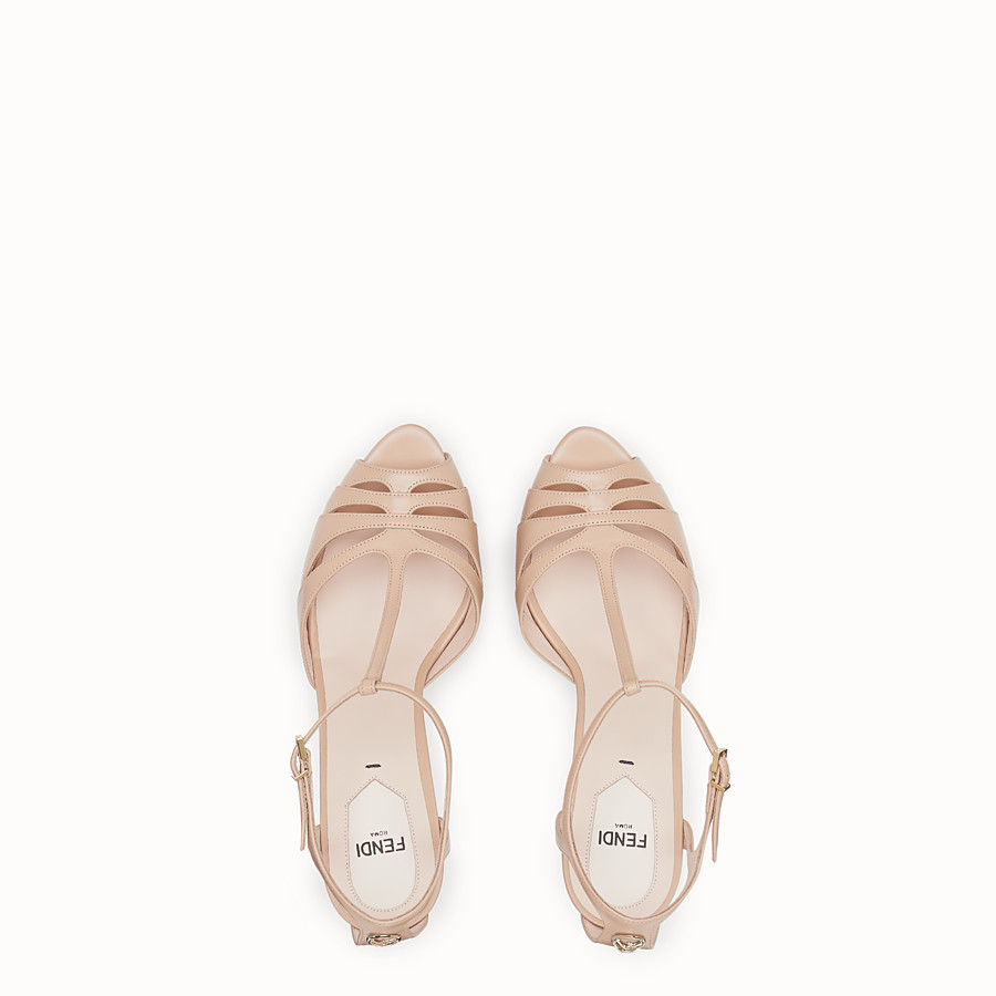 FENDI SANDALS - Pink leather high sandals - view 4 detail