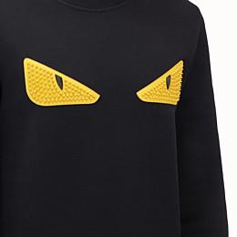 FENDI SWEATSHIRT - Black wool and cotton sweatshirt - view 3 thumbnail