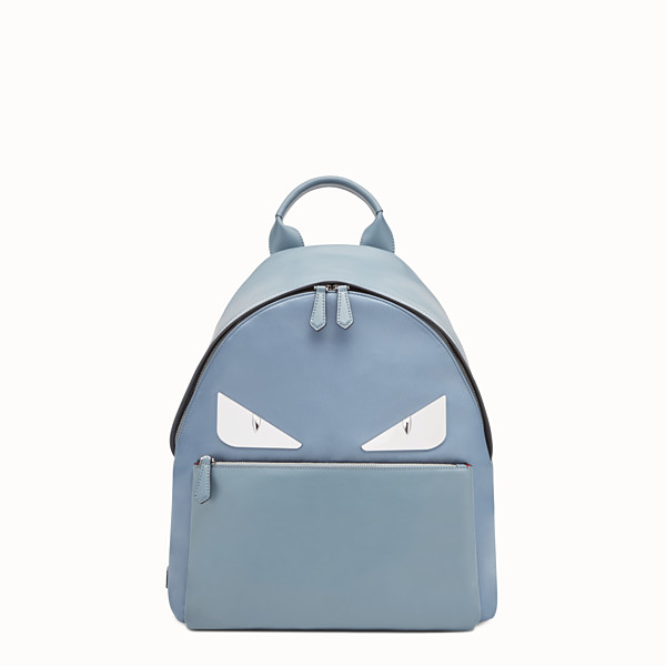 FENDI BACKPACK - Light blue nylon and leather backpack - view 1 small thumbnail
