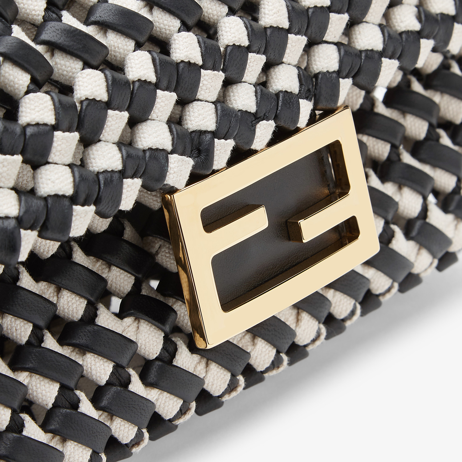 FENDI BAGUETTE - Leather and canvas interlace bag - view 6 detail
