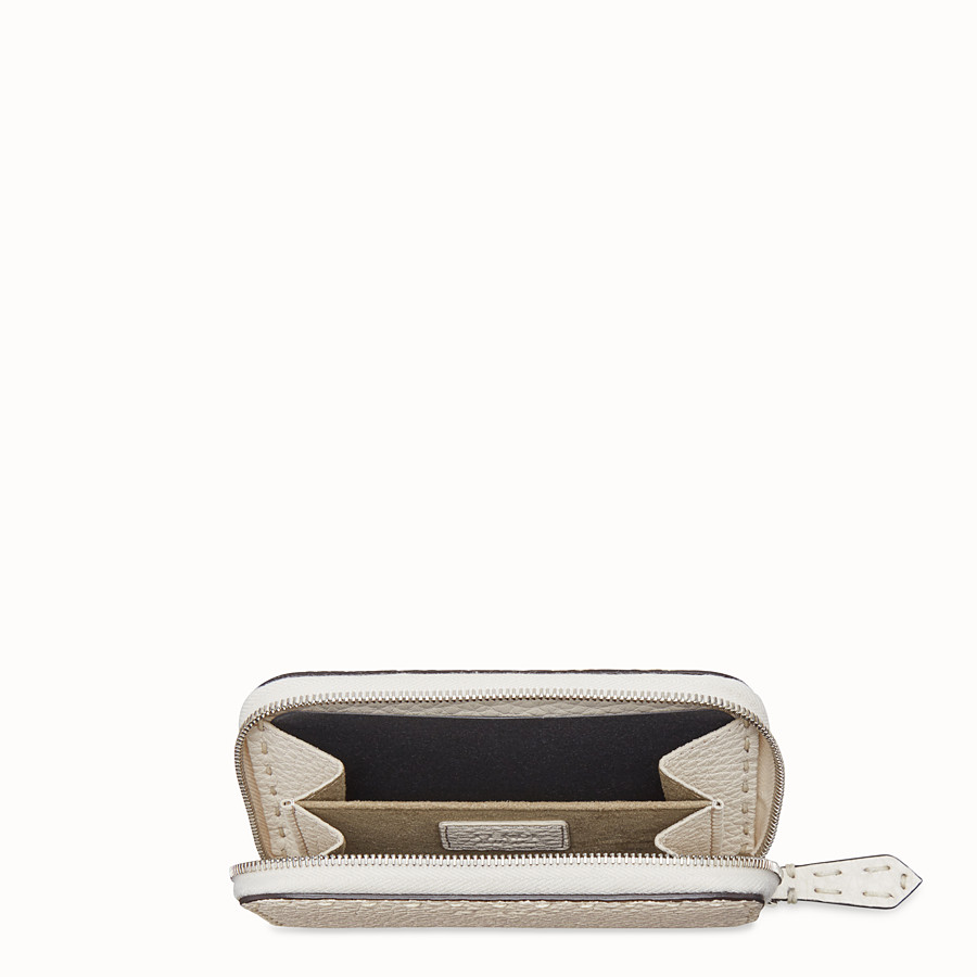 FENDI SMALL ZIP-AROUND - White leather wallet - view 4 detail