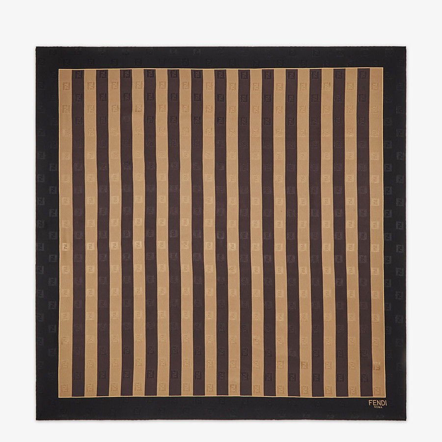 FENDI PEQUIN FOULARD - Brown silk foulard - view 1 detail