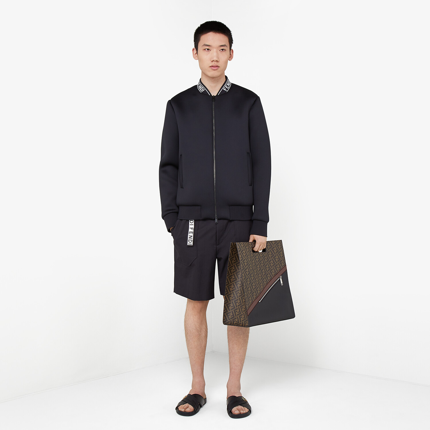 FENDI BLOUSON JACKET - Black tech fabric jacket - view 4 detail