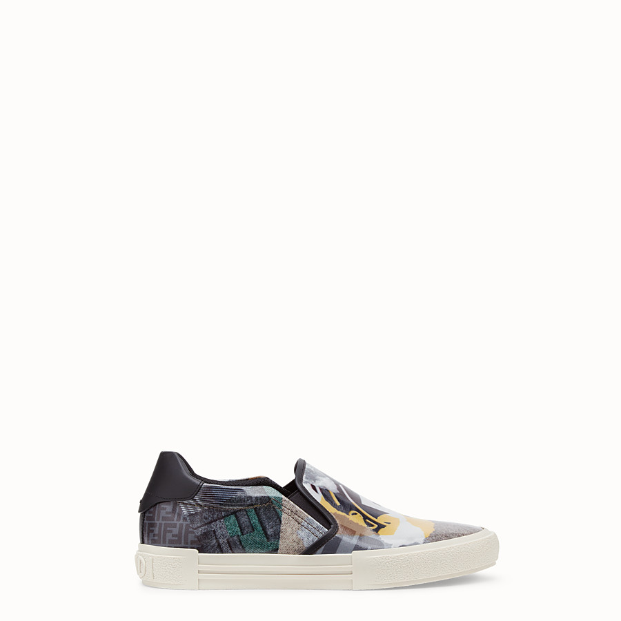 FENDI SNEAKERS - Multicolour coated nylon slip-ons - view 1 detail