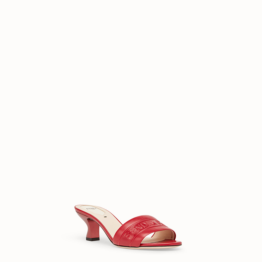 FENDI SANDALS - Red leather slides - view 2 detail