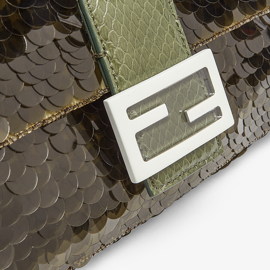 FENDI BAGUETTE 1997 - Green satin bag with sequins - view 5 detail