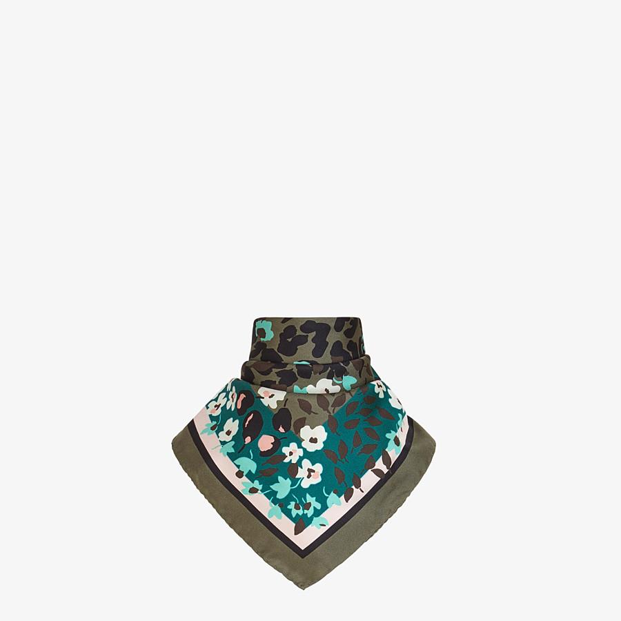FENDI FF FLOWER PATTERN FOULARD - Green silk foulard - view 2 detail