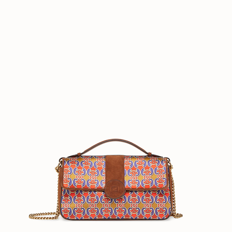 FENDI DOUBLE F - Multicolour suede and satin bag - view 1 detail