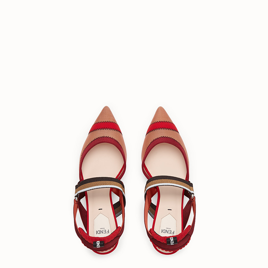FENDI SLINGBACKS - Colibrì in red mesh - view 4 detail
