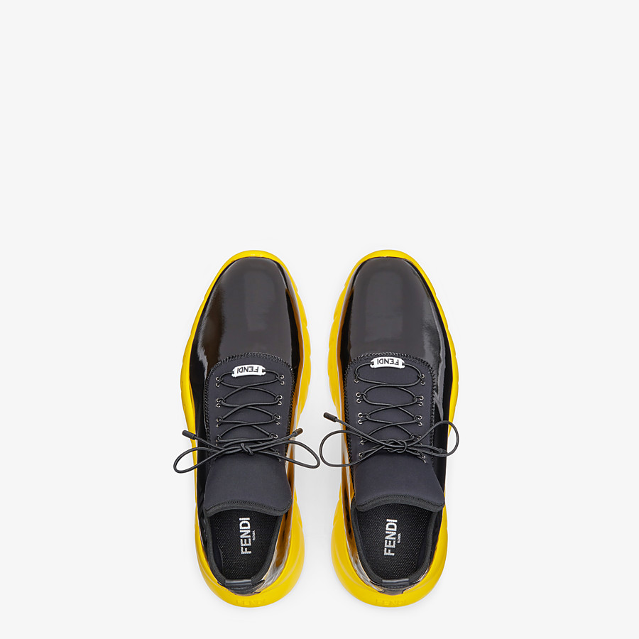 FENDI SNEAKERS - High-tops in black patent leather and fabric - view 4 detail