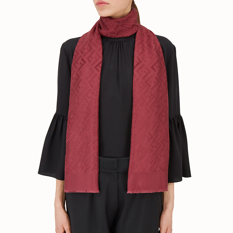 FENDI SIGNATURE STOLE - Stole in burgundy silk - view 3 detail