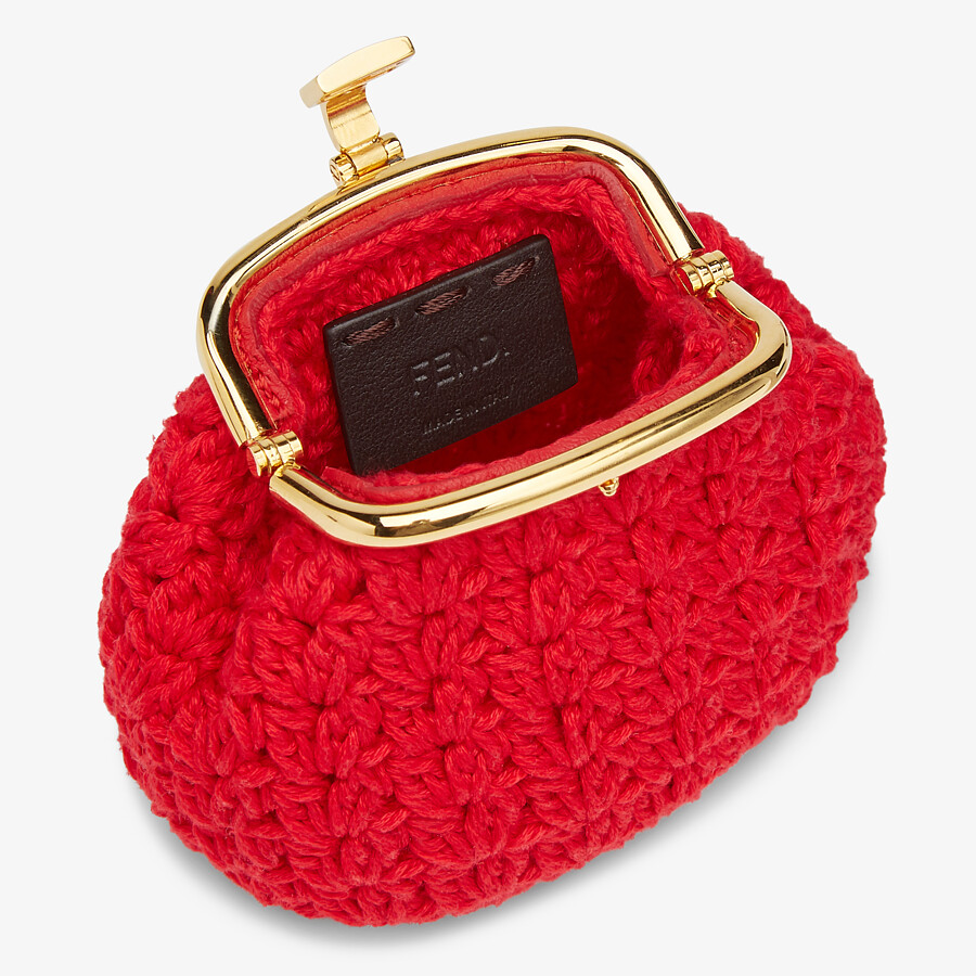 FENDI COIN PURSE - Red lace coin purse - view 3 detail