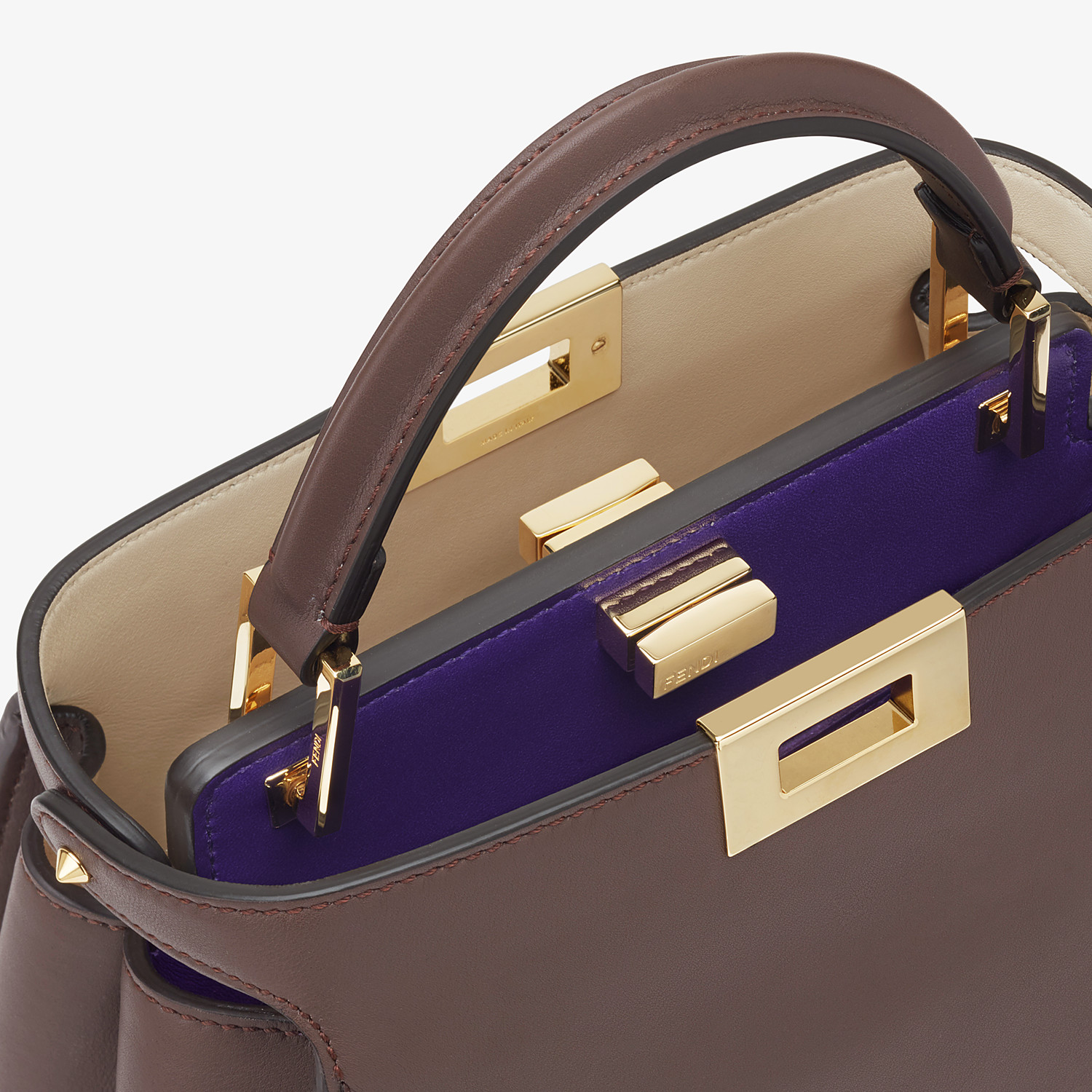 FENDI PEEKABOO ICONIC ESSENTIALLY - Brown leather bag - view 6 detail