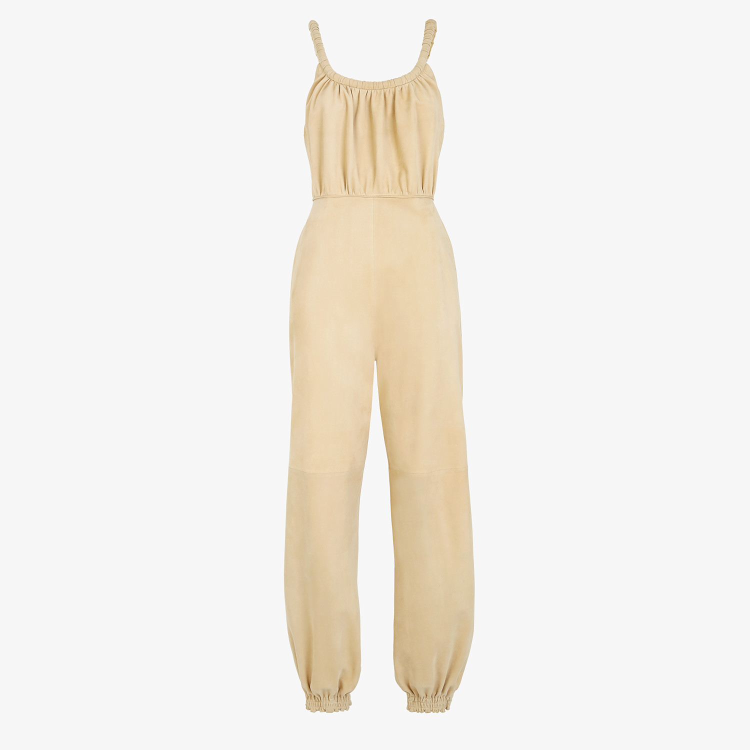 FENDI JUMPSUIT - Beige suede jumpsuit - view 1 detail