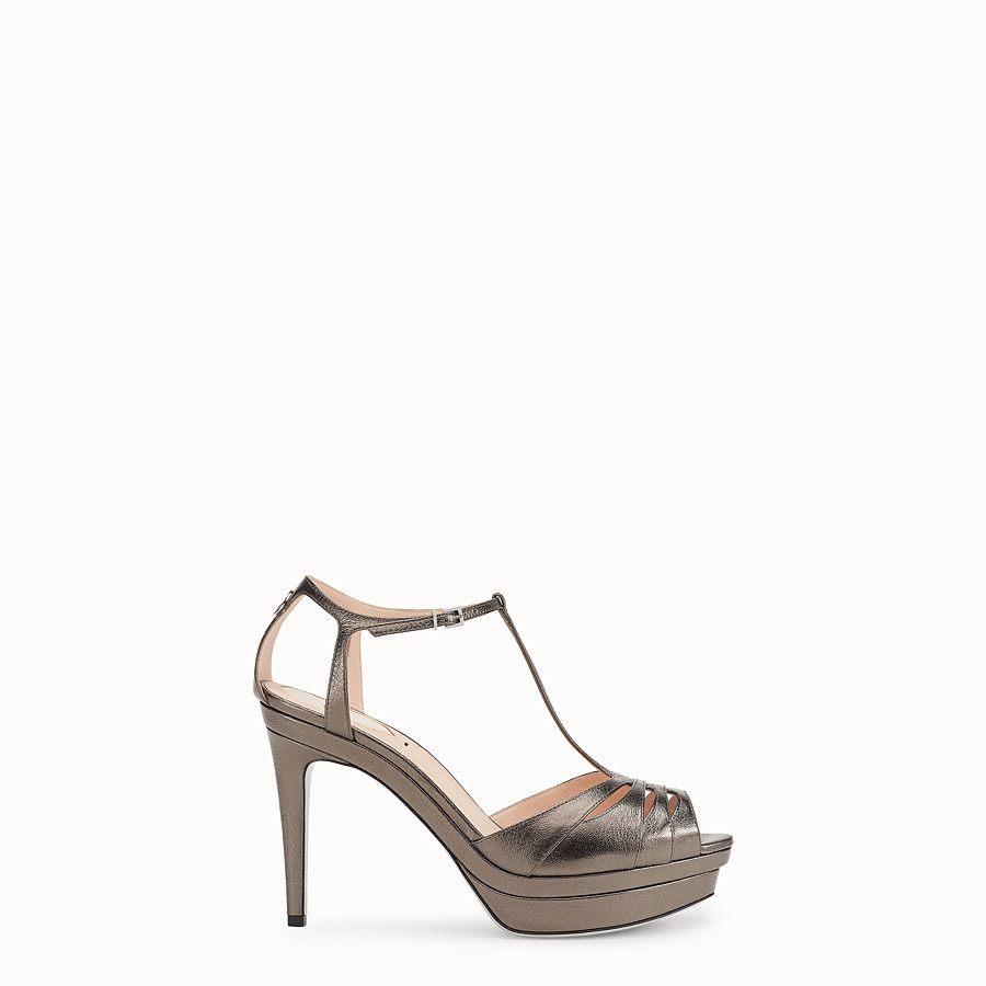 FENDI SANDALS - Grey leather high-heel sandals - view 1 detail