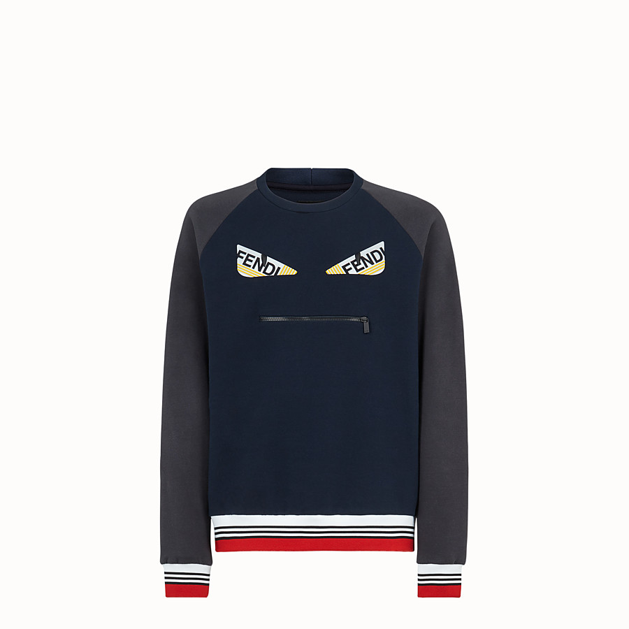 FENDI SWEATSHIRT - Blue cotton jersey sweatshirt. - view 1 detail