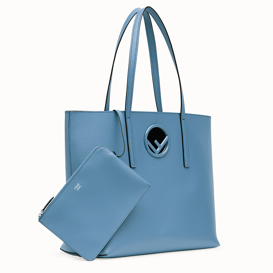 FENDI SHOPPING LOGO - Shopper in pelle blu - vista 2 dettaglio