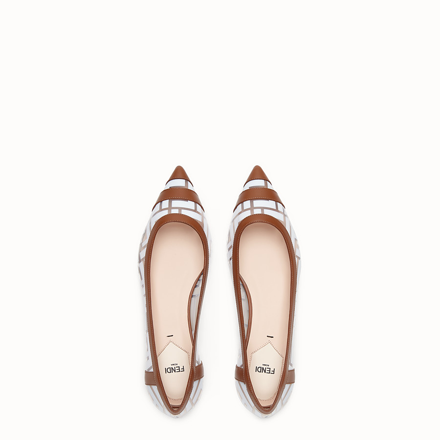 FENDI BALLERINAS - Flats in PU and white leather - view 4 detail