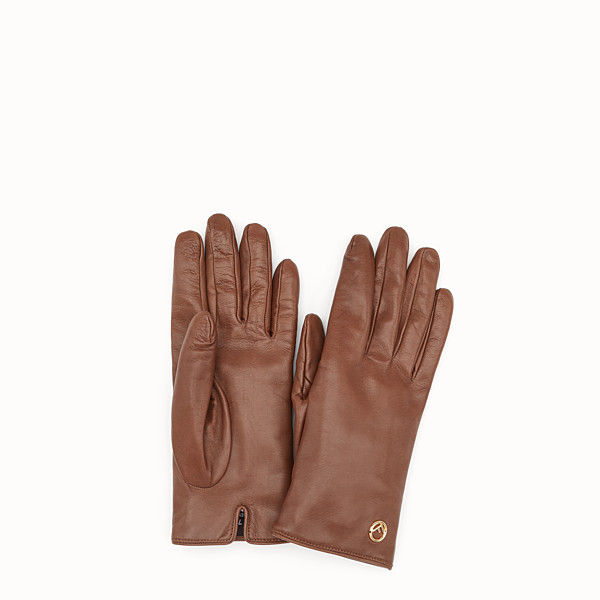 FENDI GANTS - Gants en cuir nappa marron - view 1 small thumbnail