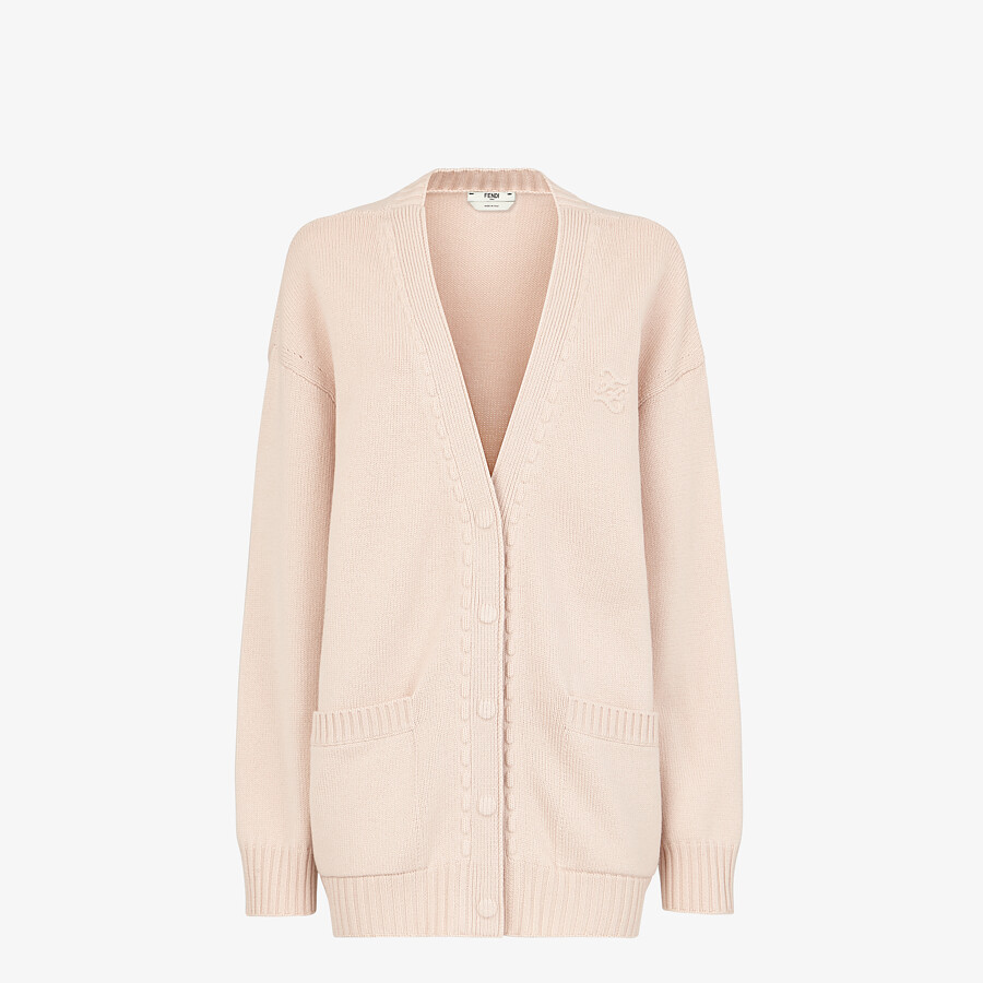 FENDI CARDIGAN - Pink cashmere cardigan - view 1 detail