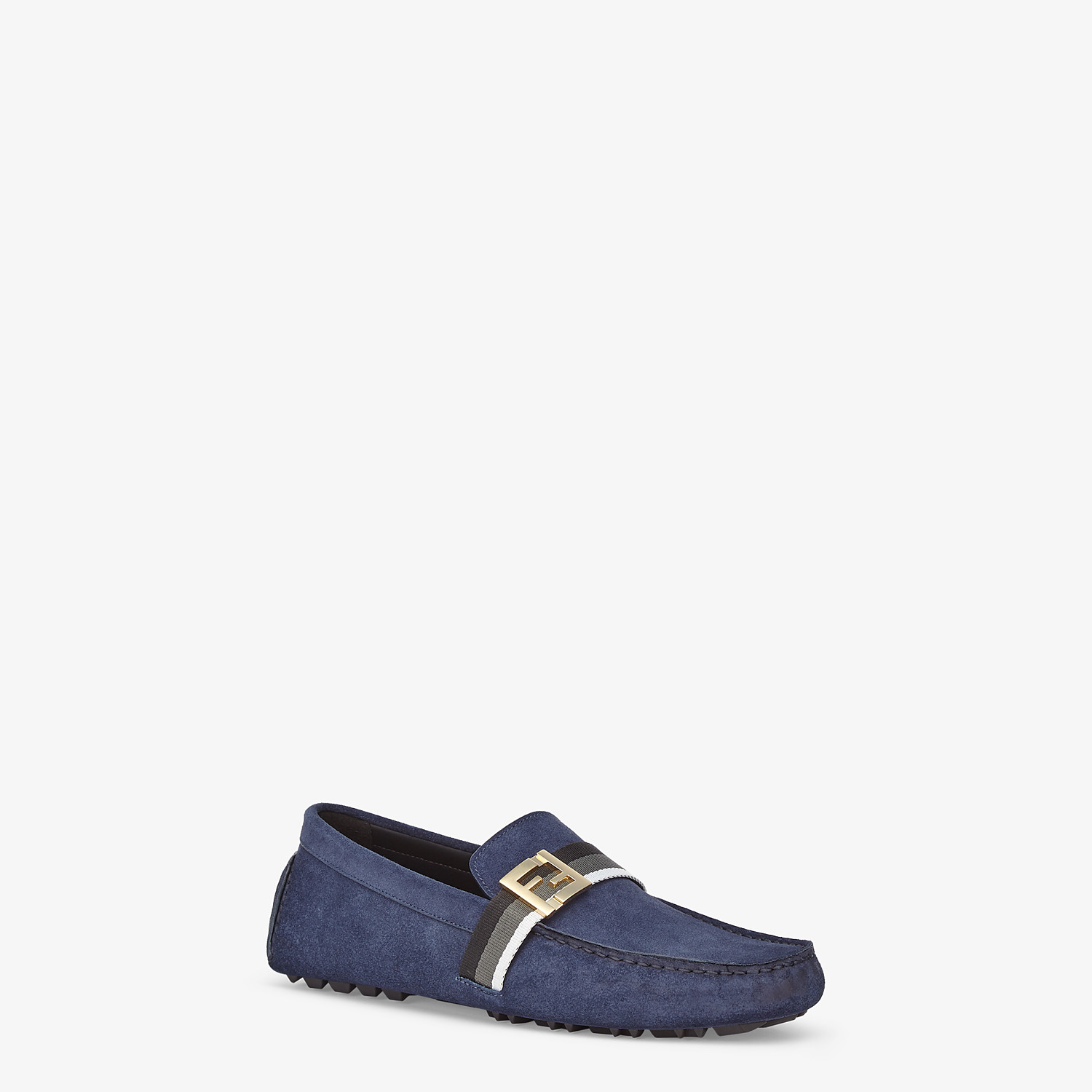 FENDI LOAFERS - Blue suede drivers - view 2 detail