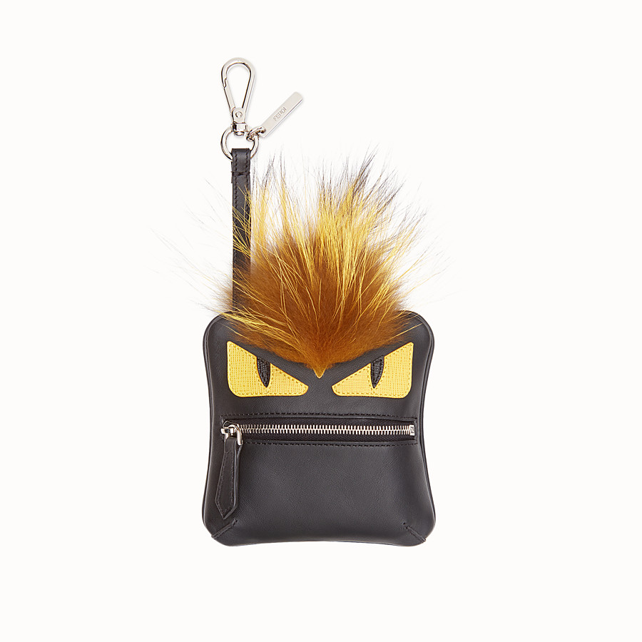 FENDI COIN PURSE CHARM - Black leather and fur coin purse - view 1 detail