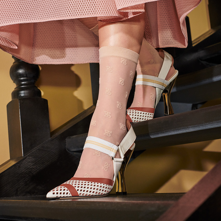 FENDI SLINGBACKS - Colibrì in white leather - view 5 detail