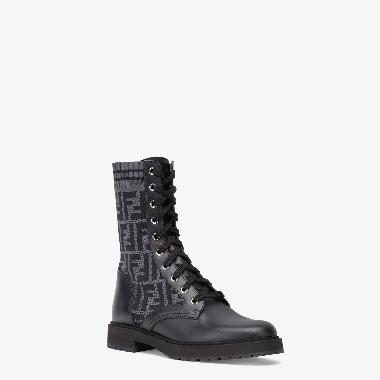 FENDI BIKER BOOTS - Black leather biker boots - view 2 detail