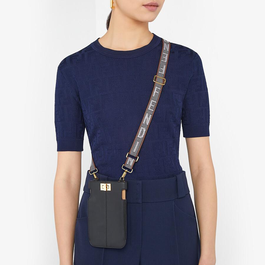 FENDI PEEK-A-PHONE - Black leather pouch - view 4 detail