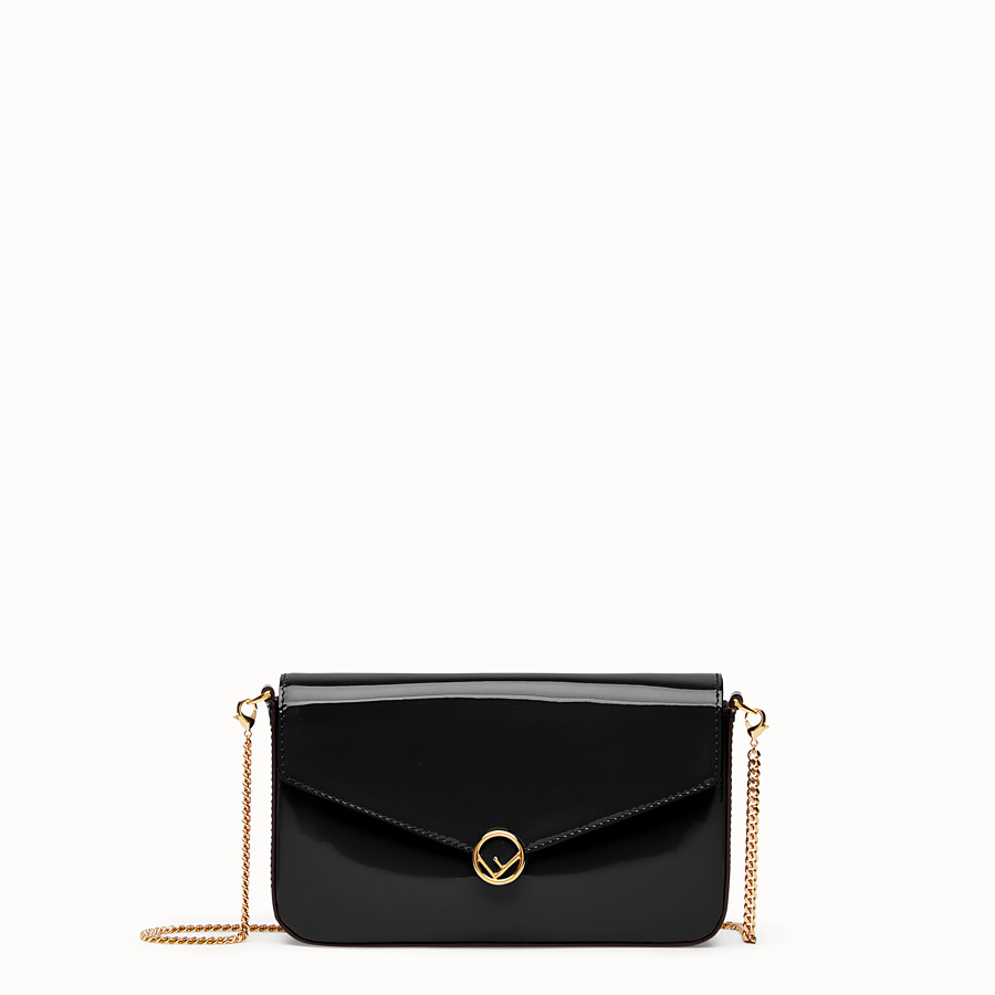 FENDI WALLET ON CHAIN WITH POUCHES - Mini bag in black patent - view 1 detail