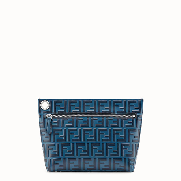 FENDI LARGE PYRAMID POUCH - Blue leather pouch - view 1 small thumbnail