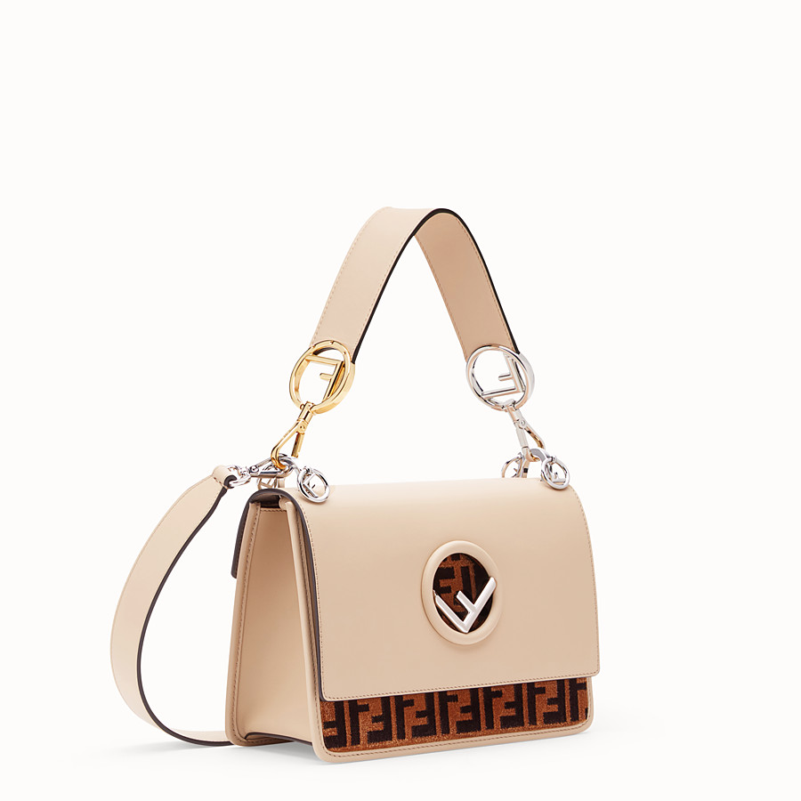 FENDI KAN I F - Beige leather and silk bag - view 2 detail