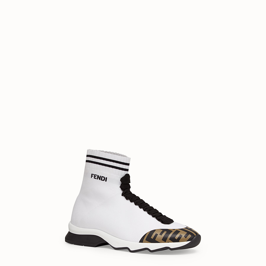 FENDI SNEAKERS - White fabric sneaker boots - view 2 detail