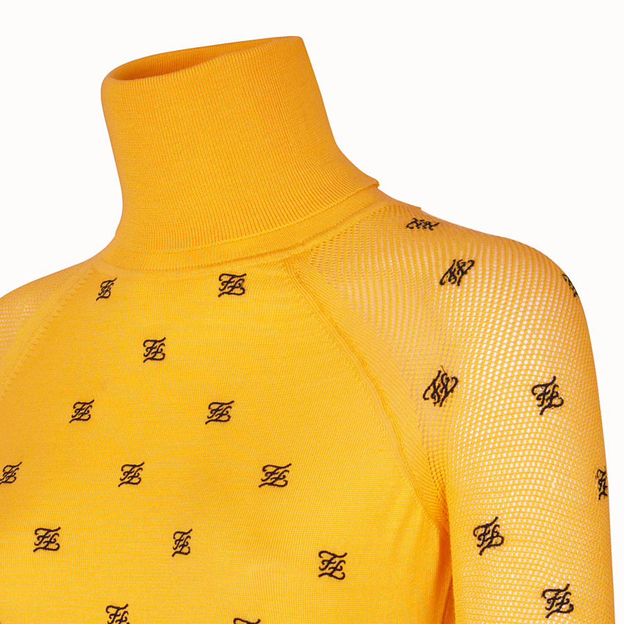 FENDI PULLOVER - Yellow wool and silk jumper - view 3 detail