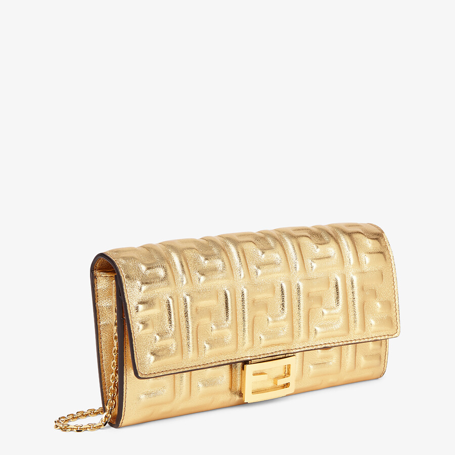 FENDI CONTINENTAL WITH CHAIN - Golden leather wallet - view 2 detail