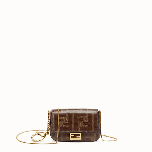 FENDI NANO BAGUETTE CHARM - Brown fabric charm - view 1 small thumbnail