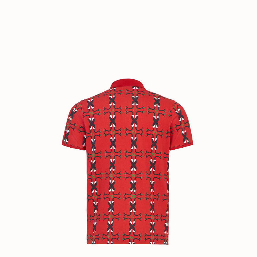 FENDI T-SHIRT - Red cotton polo shirt - view 2 detail