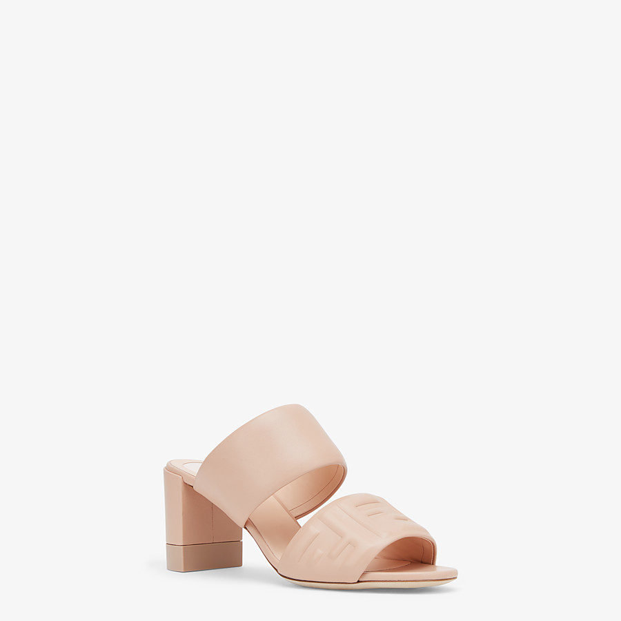 FENDI SLIDES - Pink leather slides - view 2 detail