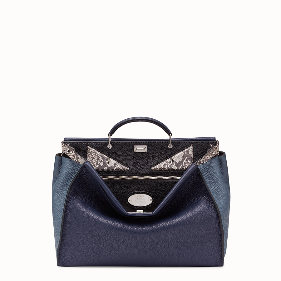 FENDI PEEKABOO MEDIUM - Blue Romano leather bag - view 1 detail