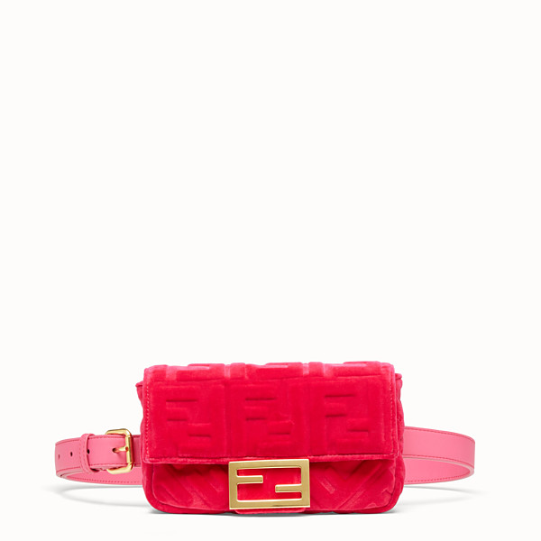 FENDI BELT BAG - Fuchsia velvet mini bag - view 1 small thumbnail